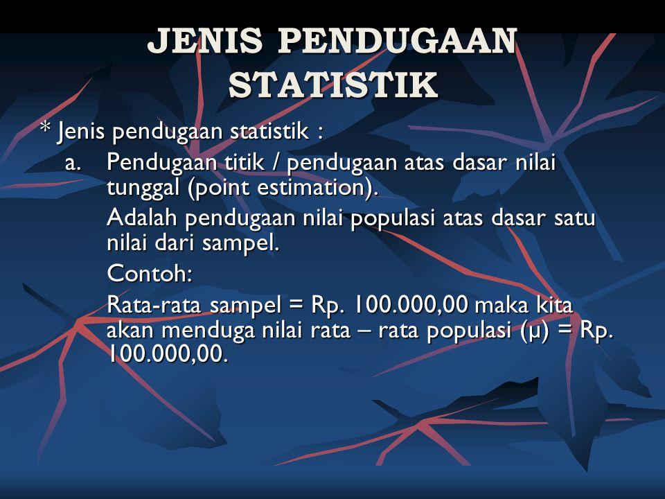 JENIS PENDUGAAN STATISTIK * Jenis pendugaan statistik : a. Pendugaan titik / pendugaan atas dasar nilai tunggal (point estimation). Adalah pendugaan n