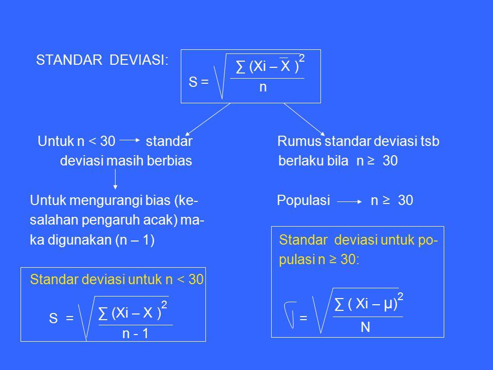 STANDAR DEVIASI: S = Untuk n < 30 standar Rumus standar deviasi tsb deviasi masih berbias berlaku bila n ≥ 30 Untuk mengurangi bias (ke- Populasi n ≥