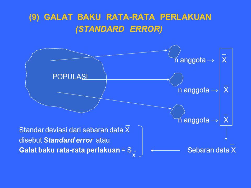(9) GALAT BAKU RATA-RATA PERLAKUAN (STANDARD ERROR) n anggota → X Populasi n anggota → X Standar deviasi dari sebaran data X disebut Standard error at