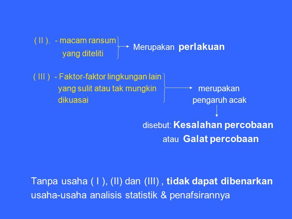 ( II ). - macam ransum yang diteliti ( III ) - Faktor-faktor lingkungan lain yang sulit atau tak mungkin merupakan dikuasai pengaruh acak disebut: Kes