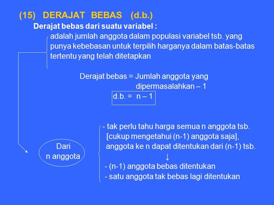 (15) DERAJAT BEBAS (d.b.) Derajat bebas dari suatu variabel : adalah jumlah anggota dalam populasi variabel tsb. yang punya kebebasan untuk terpilih h