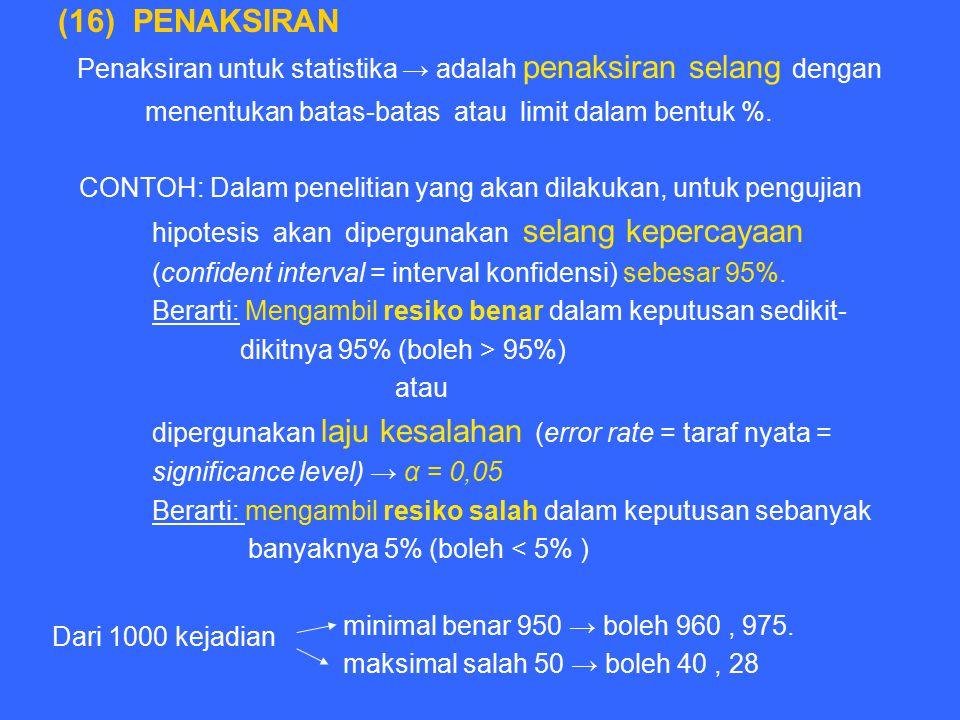 (16) PENAKSIRAN Penaksiran untuk statistika → adalah penaksiran selang dengan menentukan batas-batas atau limit dalam bentuk %. CONTOH: Dalam peneliti