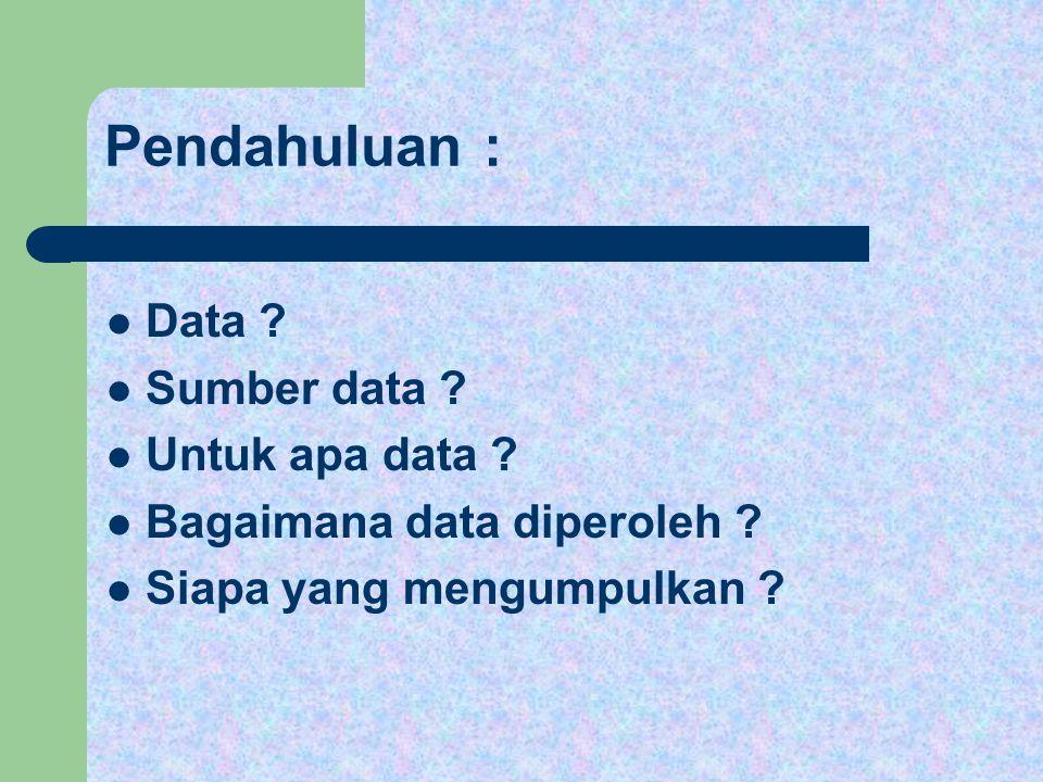 Pendahuluan : Data ? Sumber data ? Untuk apa data ? Bagaimana data diperoleh ? Siapa yang mengumpulkan ?