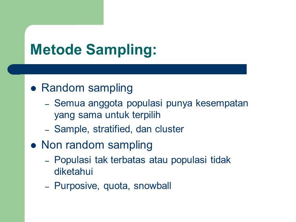 Metode Sampling: Random sampling – Semua anggota populasi punya kesempatan yang sama untuk terpilih – Sample, stratified, dan cluster Non random sampl