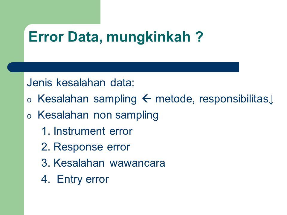 Jenis kesalahan data: o Kesalahan sampling  metode, responsibilitas↓ o Kesalahan non sampling 1. Instrument error 2. Response error 3. Kesalahan wawa
