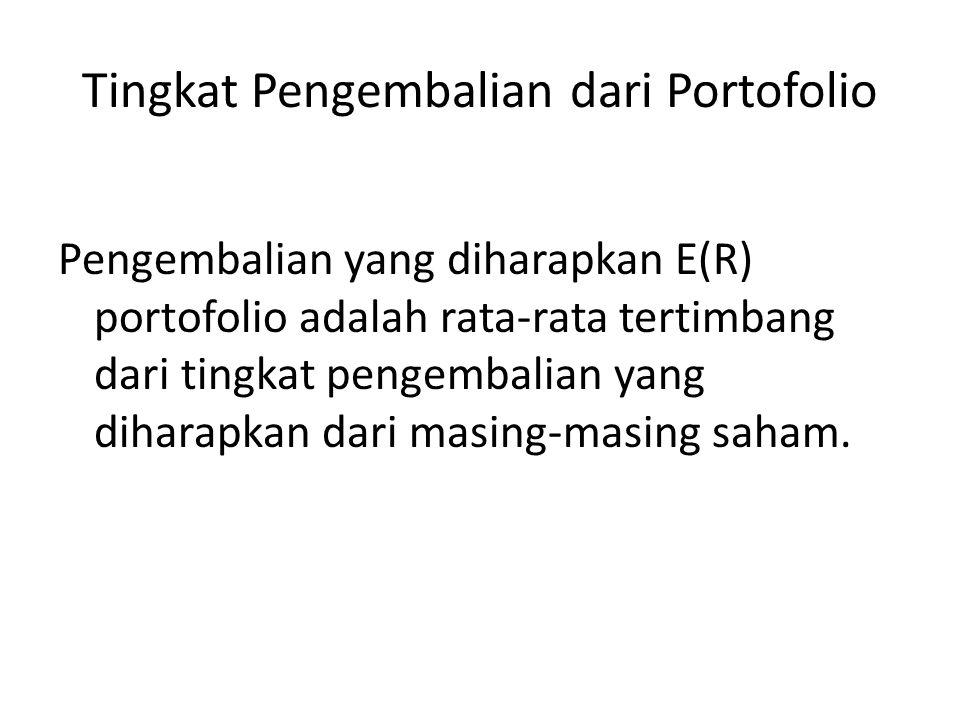 Tingkat Pengembalian dari Portofolio Pengembalian yang diharapkan E(R) portofolio adalah rata-rata tertimbang dari tingkat pengembalian yang diharapkan dari masing-masing saham.