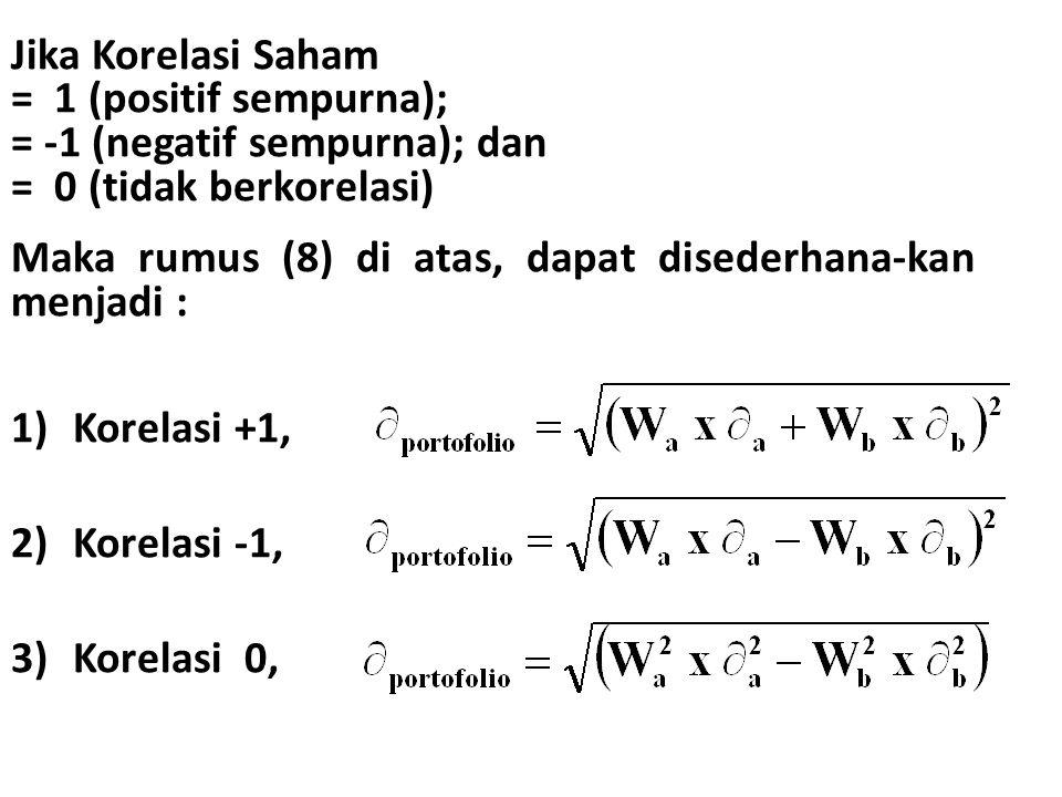 Jika Korelasi Saham = 1 (positif sempurna); = -1 (negatif sempurna); dan = 0 (tidak berkorelasi) Maka rumus (8) di atas, dapat disederhana-kan menjadi : 1)Korelasi +1, 2)Korelasi -1, 3)Korelasi 0,