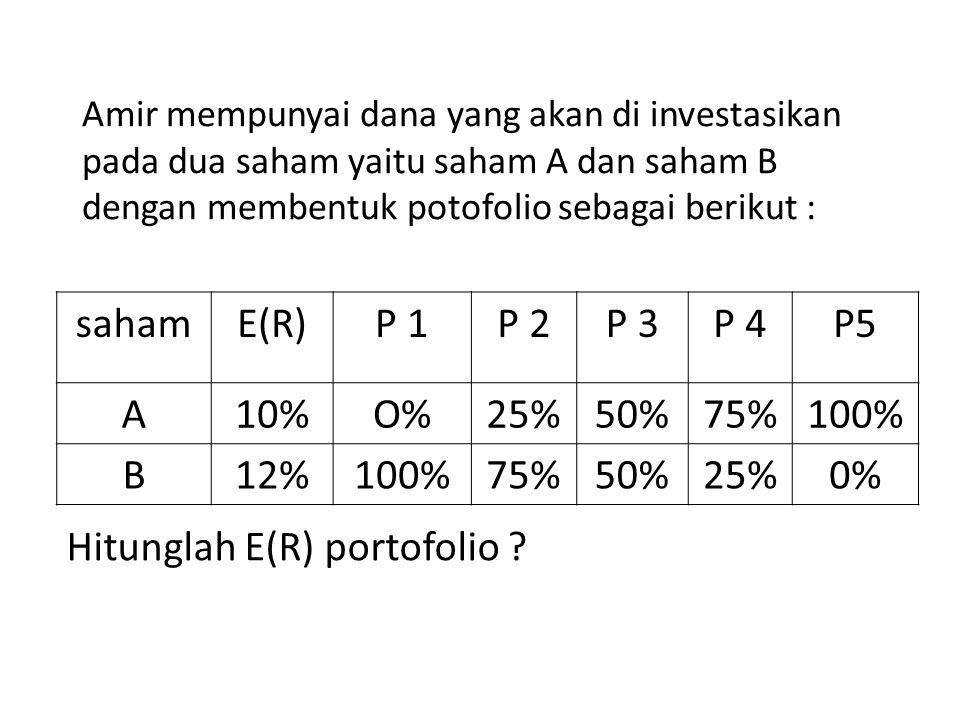Amir mempunyai dana yang akan di investasikan pada dua saham yaitu saham A dan saham B dengan membentuk potofolio sebagai berikut : Hitunglah E(R) portofolio .