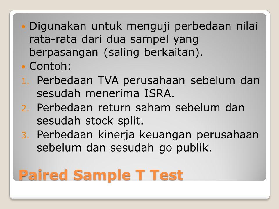 Paired Sample T Test Digunakan untuk menguji perbedaan nilai rata-rata dari dua sampel yang berpasangan (saling berkaitan). Contoh: 1. Perbedaan TVA p