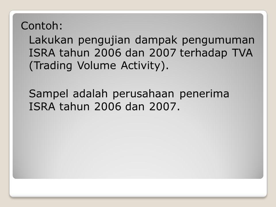 Contoh: Lakukan pengujian dampak pengumuman ISRA tahun 2006 dan 2007 terhadap TVA (Trading Volume Activity). Sampel adalah perusahaan penerima ISRA ta