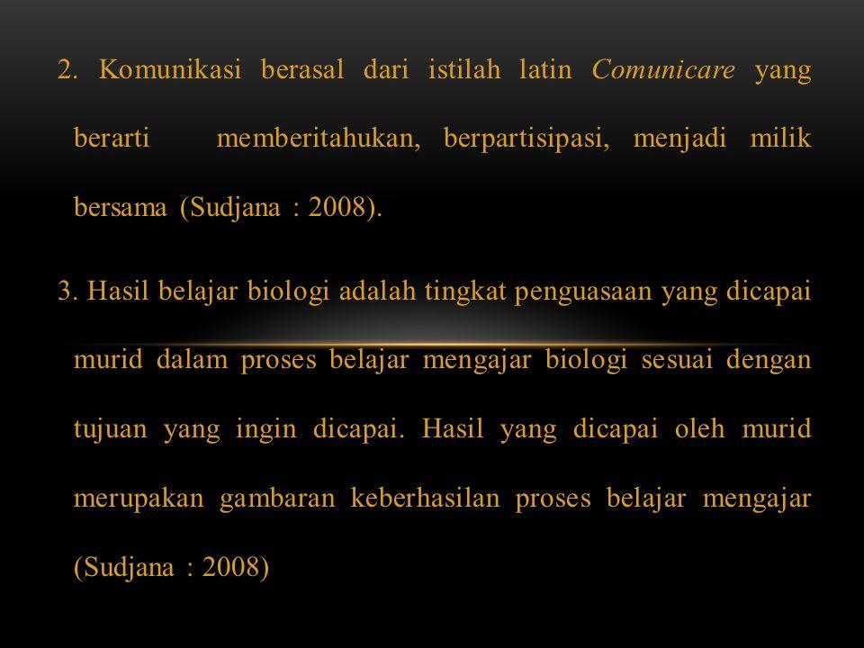 2. Komunikasi berasal dari istilah latin Comunicare yang berarti memberitahukan, berpartisipasi, menjadi milik bersama (Sudjana : 2008). 3. Hasil bela