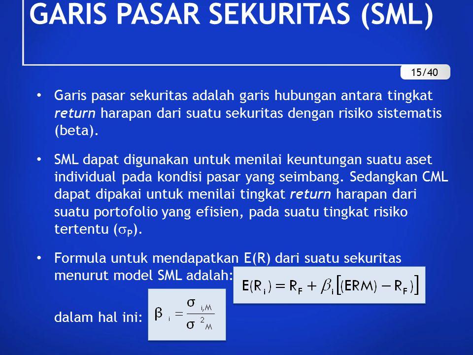 Garis pasar sekuritas adalah garis hubungan antara tingkat return harapan dari suatu sekuritas dengan risiko sistematis (beta). SML dapat digunakan un