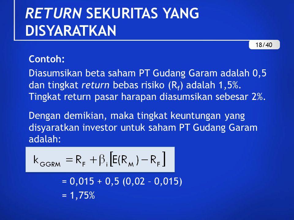 Contoh: Diasumsikan beta saham PT Gudang Garam adalah 0,5 dan tingkat return bebas risiko (R f ) adalah 1,5%. Tingkat return pasar harapan diasumsikan