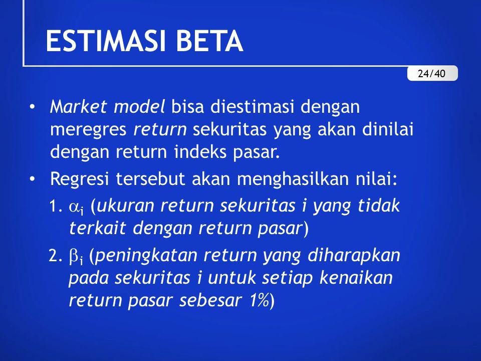 Market model bisa diestimasi dengan meregres return sekuritas yang akan dinilai dengan return indeks pasar.