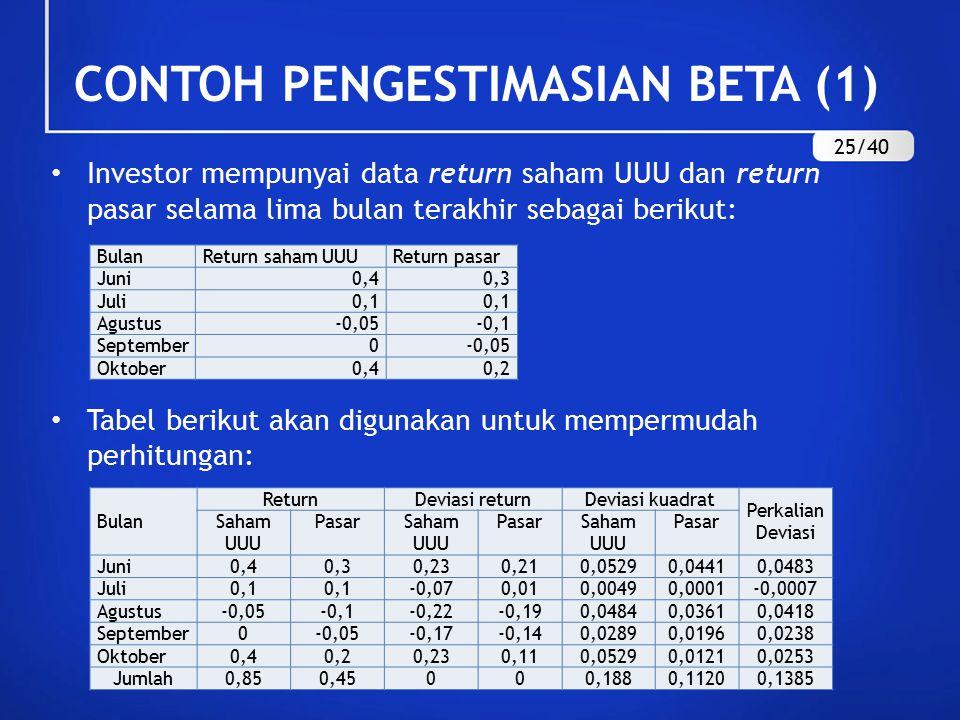 CONTOH PENGESTIMASIAN BETA (1) Investor mempunyai data return saham UUU dan return pasar selama lima bulan terakhir sebagai berikut: Tabel berikut aka