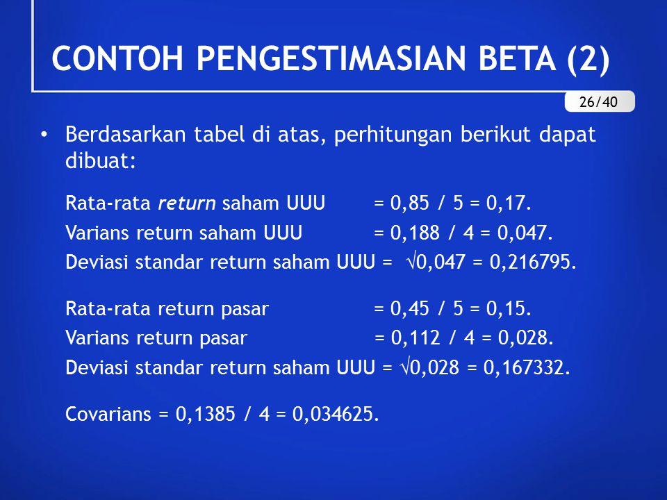 Berdasarkan tabel di atas, perhitungan berikut dapat dibuat: Rata-rata return saham UUU = 0,85 / 5 = 0,17. Varians return saham UUU = 0,188 / 4 = 0,04