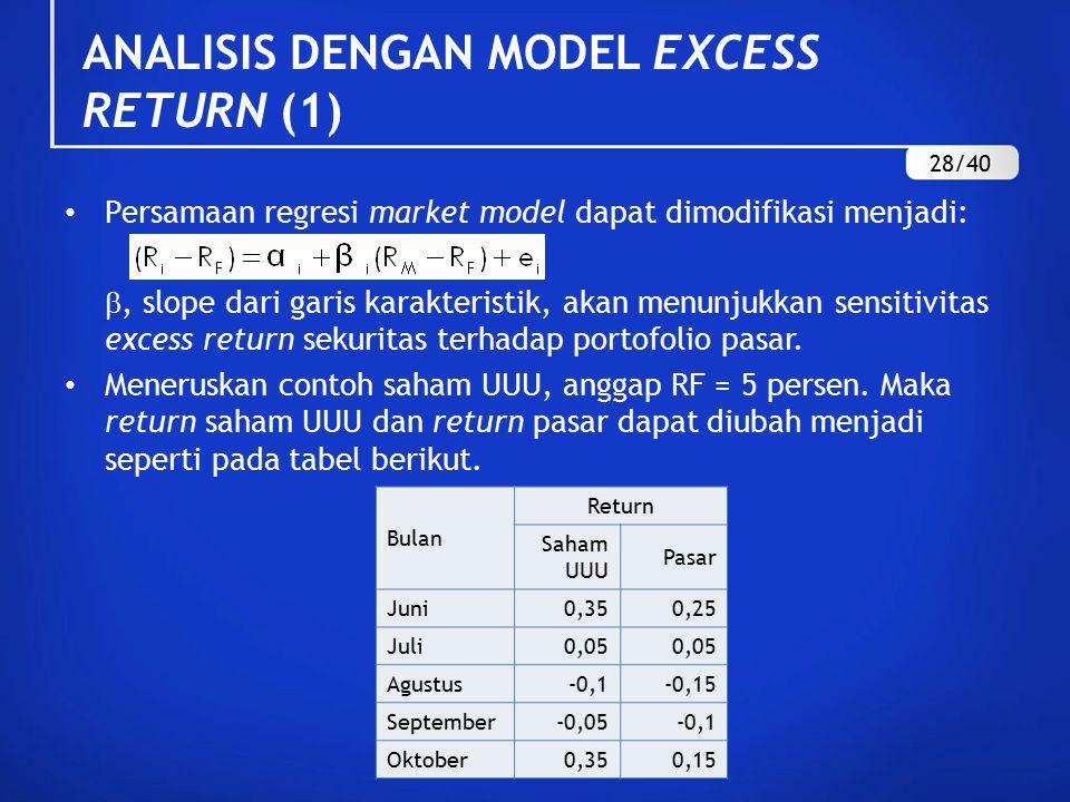 ANALISIS DENGAN MODEL EXCESS RETURN (1) Persamaan regresi market model dapat dimodifikasi menjadi: , slope dari garis karakteristik, akan menunjukkan sensitivitas excess return sekuritas terhadap portofolio pasar.