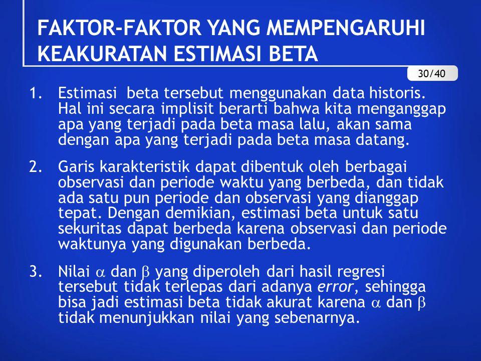FAKTOR-FAKTOR YANG MEMPENGARUHI KEAKURATAN ESTIMASI BETA 1.Estimasi beta tersebut menggunakan data historis. Hal ini secara implisit berarti bahwa kit