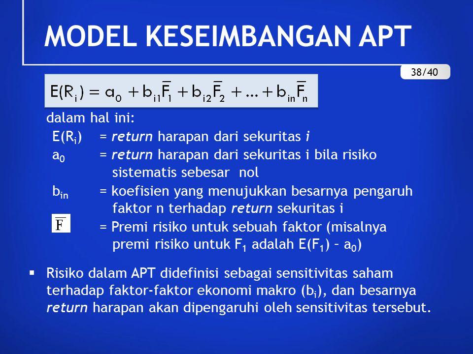 MODEL KESEIMBANGAN APT dalam hal ini: E(R i )= return harapan dari sekuritas i a 0 = return harapan dari sekuritas i bila risiko sistematis sebesar nol b in = koefisien yang menujukkan besarnya pengaruh faktor n terhadap return sekuritas i = Premi risiko untuk sebuah faktor (misalnya premi risiko untuk F 1 adalah E(F 1 ) – a 0 )  Risiko dalam APT didefinisi sebagai sensitivitas saham terhadap faktor-faktor ekonomi makro (b i ), dan besarnya return harapan akan dipengaruhi oleh sensitivitas tersebut.