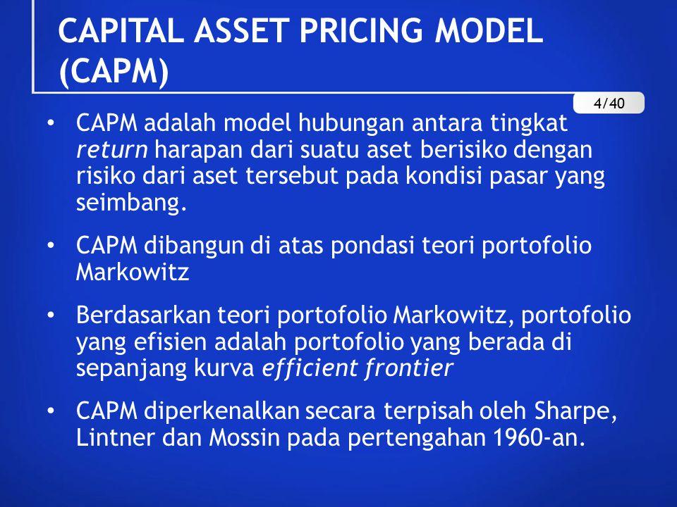 CAPITAL ASSET PRICING MODEL (CAPM) CAPM adalah model hubungan antara tingkat return harapan dari suatu aset berisiko dengan risiko dari aset tersebut pada kondisi pasar yang seimbang.