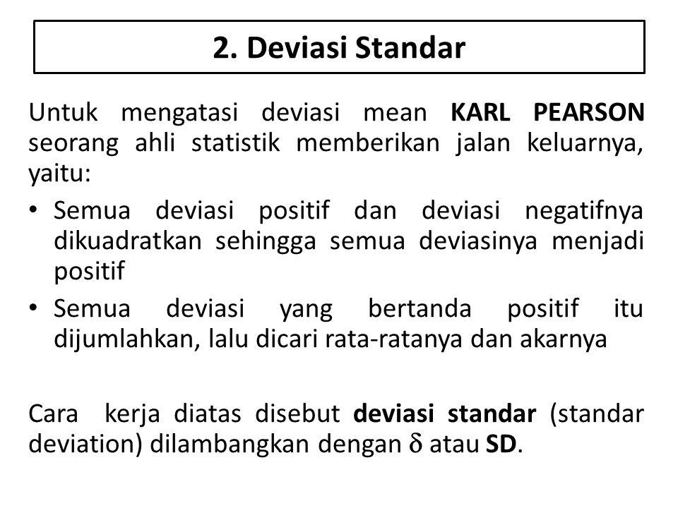 Rumus Deviasi Standar Keterangan: SD = Standar Deviasi  x 2 = Jumlah semua deviasi setelah dikuadratkan (a)Rumus untuk frekuensi tunggal atau satu (b)Rumus untuk frekuensi lebih dari satu