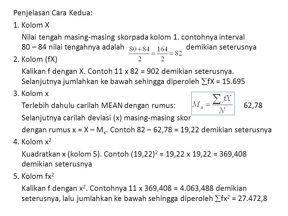 Penjelasan Cara Kedua: 1. Kolom X Nilai tengah masing-masing skorpada kolom 1. contohnya interval 80 – 84 nilai tengahnya adalah demikian seterusnya 2