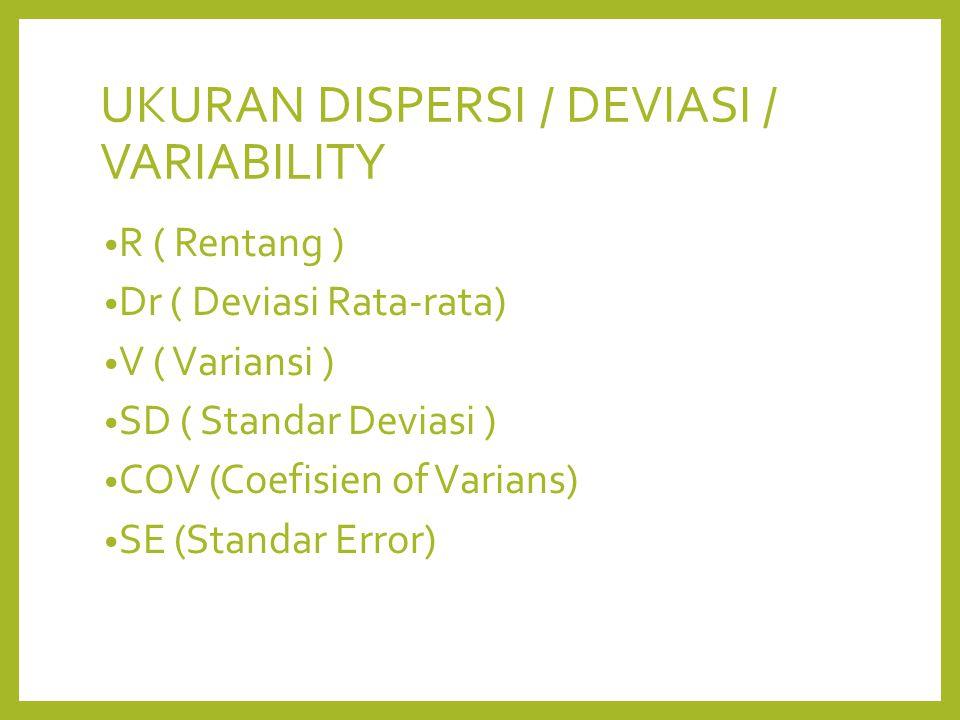 R ( Rentang ) Dr ( Deviasi Rata-rata) V ( Variansi ) SD ( Standar Deviasi ) COV (Coefisien of Varians) SE (Standar Error)