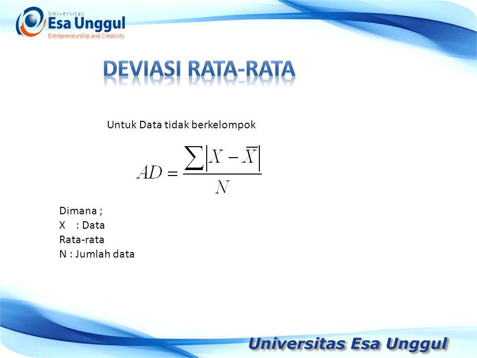 Tahun Pendapatan Nasional (milyar Rupiah) 1990 1991 1992 1993 1994 1995 1996 1997 590,6 612,7 630,8 645 667,9 702,3 801,3 815,7 Untuk Data tidak berkelompok Dimana ; X : Data Rata-rata N : Jumlah data