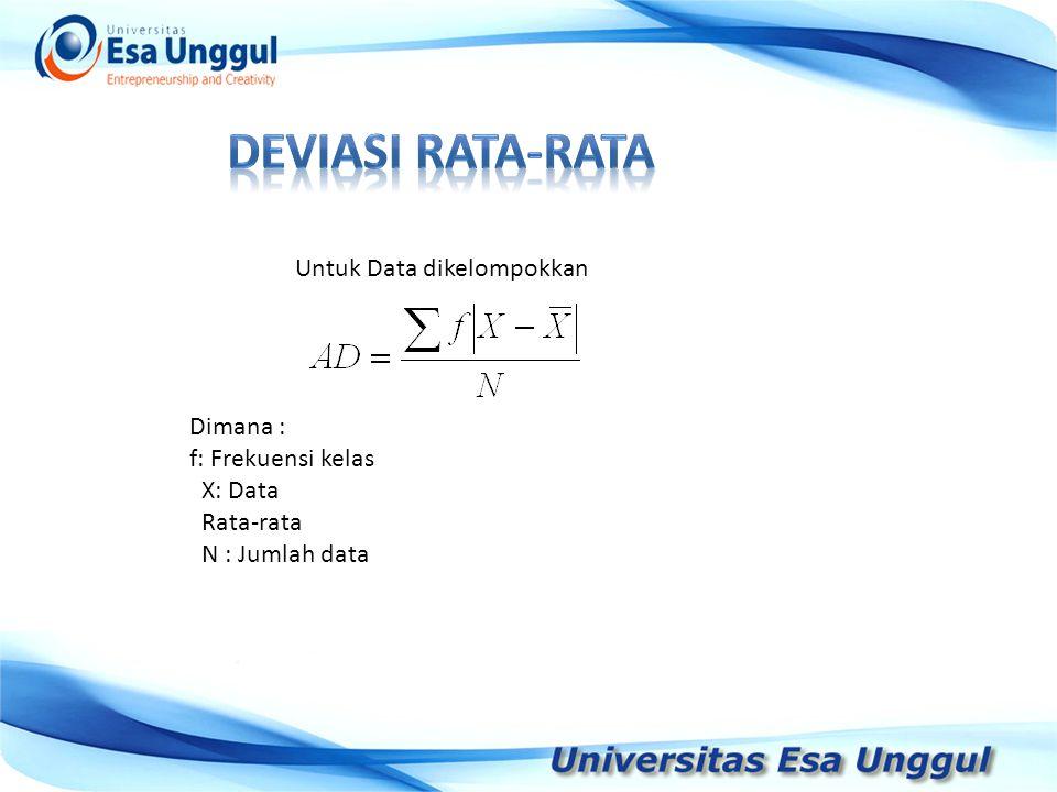 Tahun Pendapatan Nasional (milyar Rupiah) 1990 1991 1992 1993 1994 1995 1996 1997 590,6 612,7 630,8 645 667,9 702,3 801,3 815,7 Untuk Data dikelompokkan Dimana : f: Frekuensi kelas X: Data Rata-rata N : Jumlah data