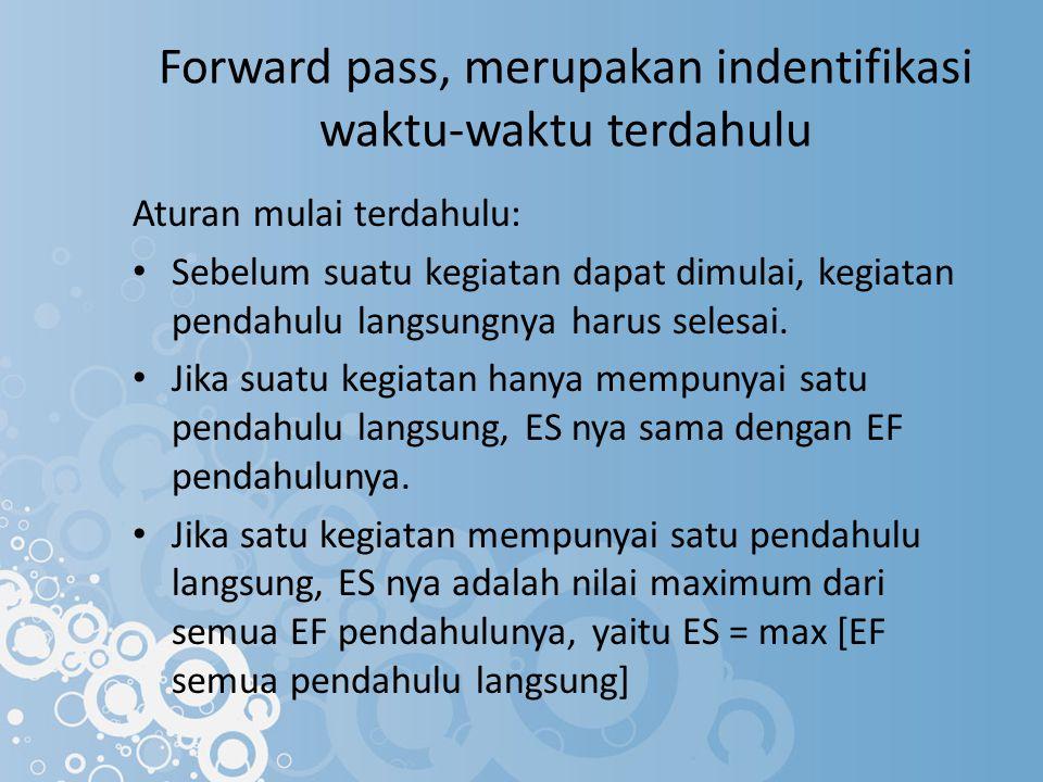 Forward pass, merupakan indentifikasi waktu-waktu terdahulu Aturan mulai terdahulu: Sebelum suatu kegiatan dapat dimulai, kegiatan pendahulu langsungn