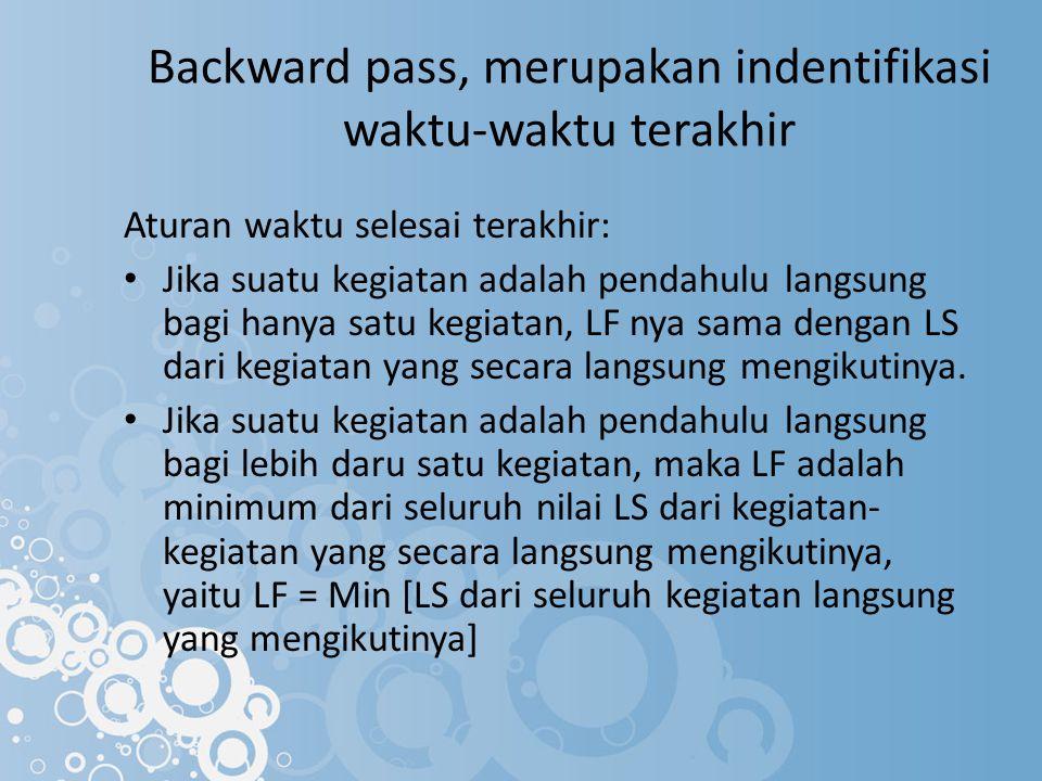 Backward pass, merupakan indentifikasi waktu-waktu terakhir Aturan waktu selesai terakhir: Jika suatu kegiatan adalah pendahulu langsung bagi hanya sa