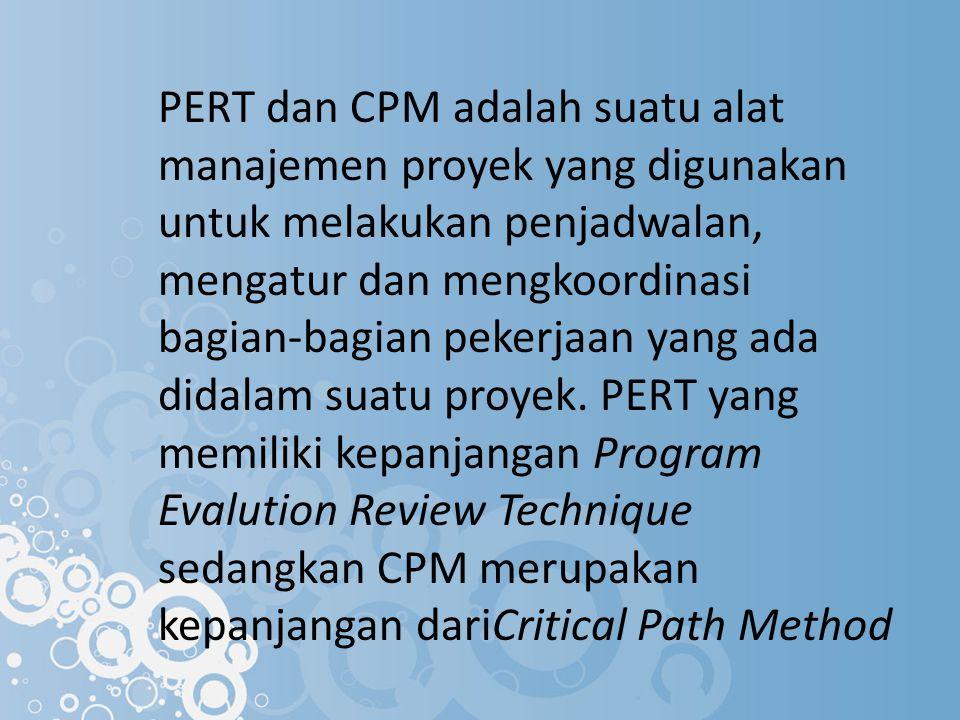 PERT dan CPM adalah suatu alat manajemen proyek yang digunakan untuk melakukan penjadwalan, mengatur dan mengkoordinasi bagian-bagian pekerjaan yang a