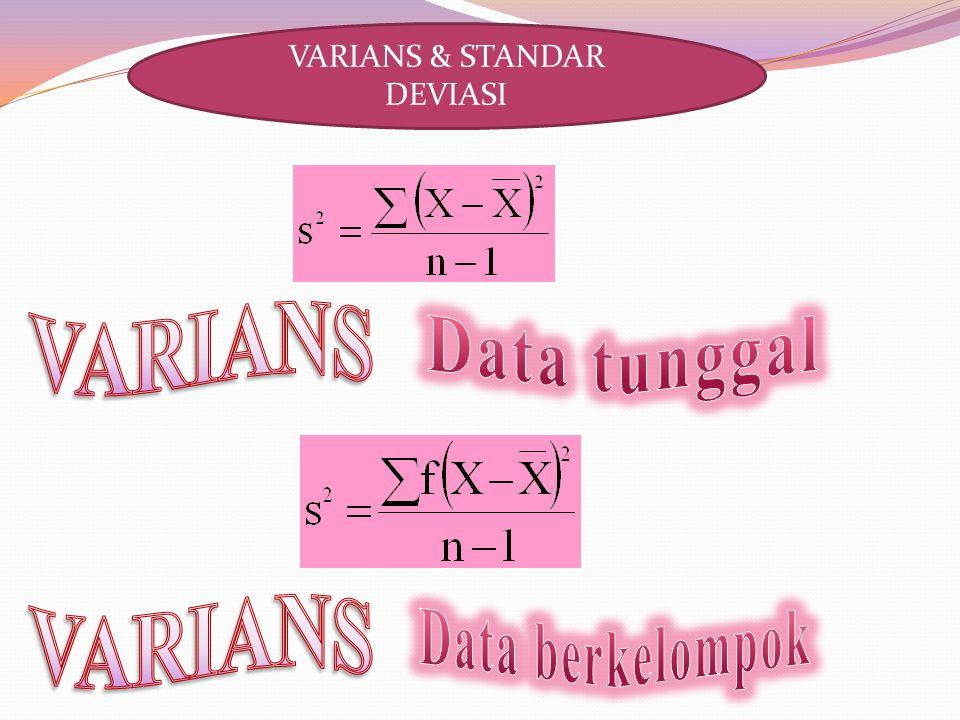 Untuk data tunggal dan berkelompok