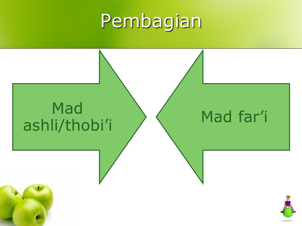 Mad Jaiz Munfashil Apabila ada mad thobi'i atau mad ashli bertemu dengan hamzah dilain kalimat, contoh: