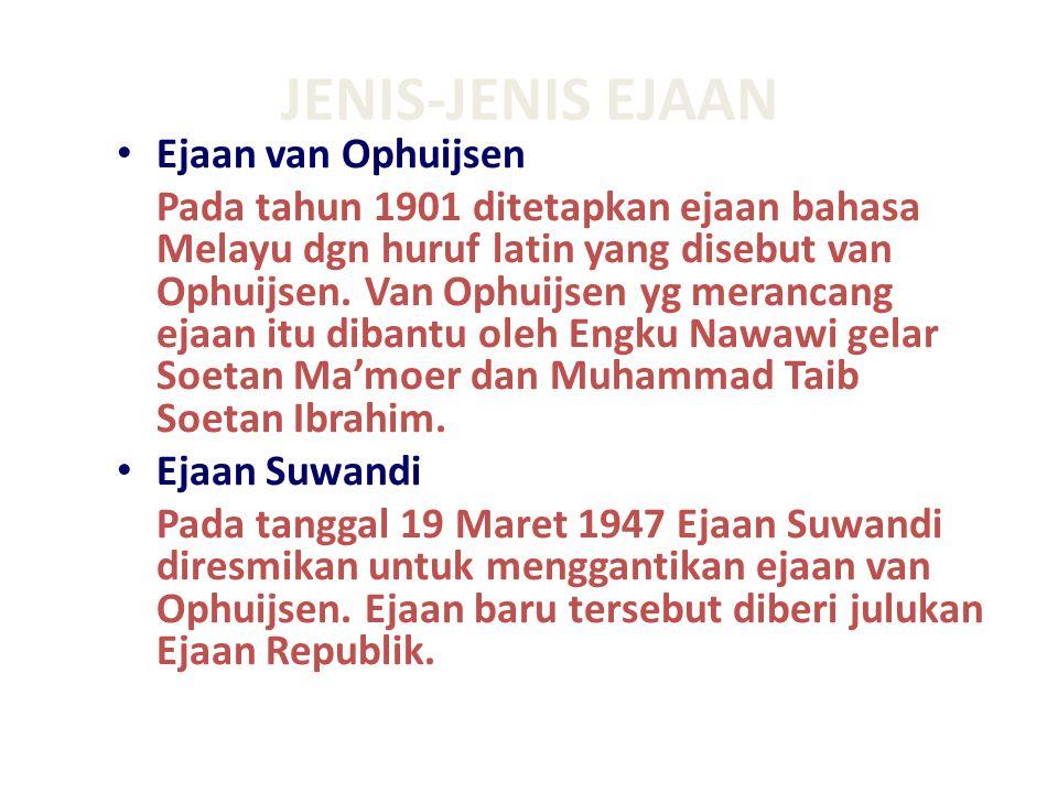 Ejaan Melindo Pada akhir 1959 sidang perutusan Indonesia dan Melayu (Slametmulyana-Syeh Nasir bin Ismail, ketua) menghasilkan konsep ejaan bersama yang kemudian dikenal dengan nama Ejaan Melindo (Melayu-Indonesia).