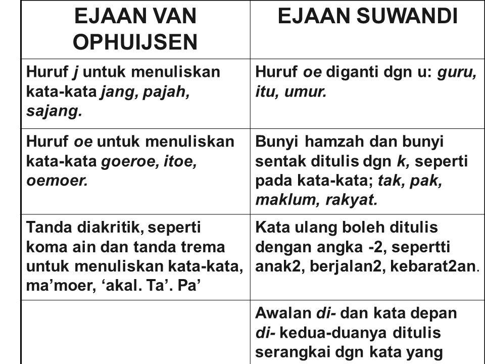 Perbedaan ketiga jenis ejaan yang pernah dan sedang berlaku dalam aspek penghurufan dapat dilihat dalam tabel berikut : Van Ophuysen SuwandiEYD Jjy djdjj njnjny Sjsjsy tjTjc chChkh ZZz f-f --v oeUu eeee