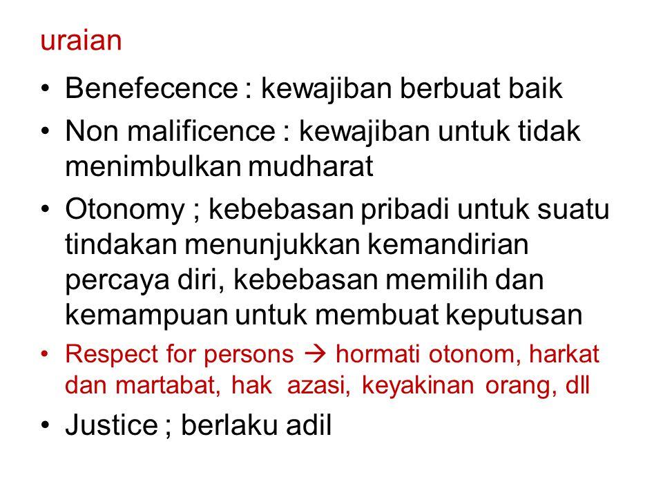 uraian Benefecence : kewajiban berbuat baik Non malificence : kewajiban untuk tidak menimbulkan mudharat Otonomy ; kebebasan pribadi untuk suatu tinda