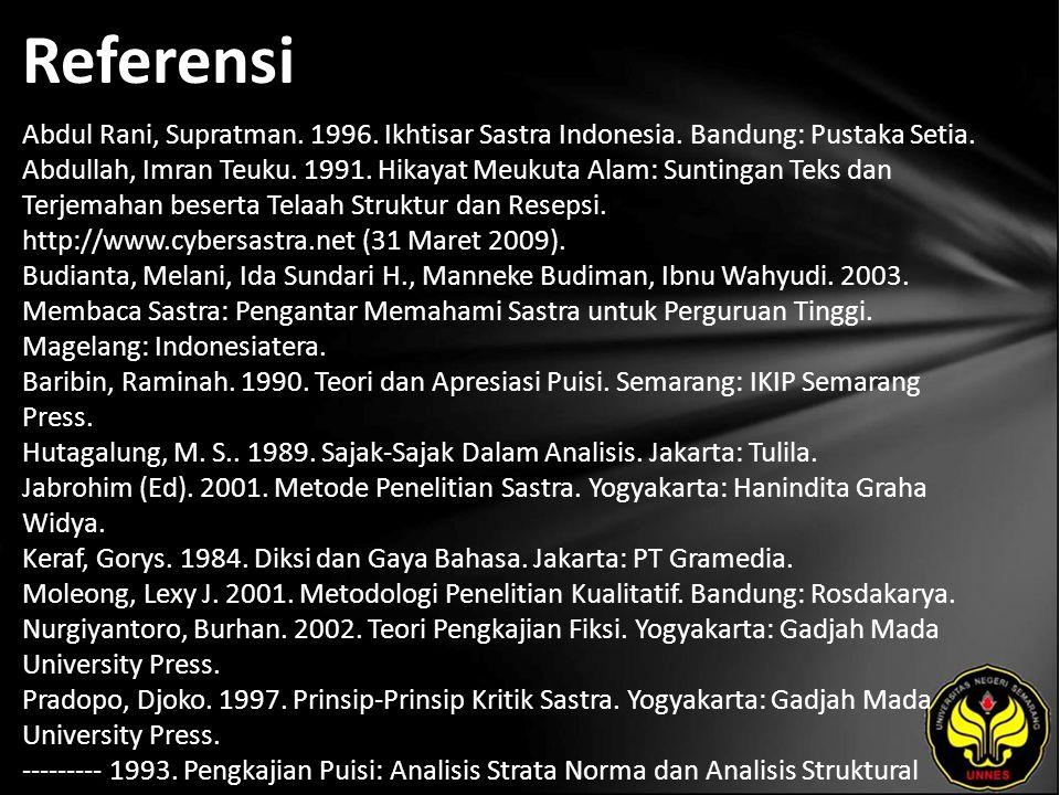 Referensi Abdul Rani, Supratman. 1996. Ikhtisar Sastra Indonesia. Bandung: Pustaka Setia. Abdullah, Imran Teuku. 1991. Hikayat Meukuta Alam: Suntingan