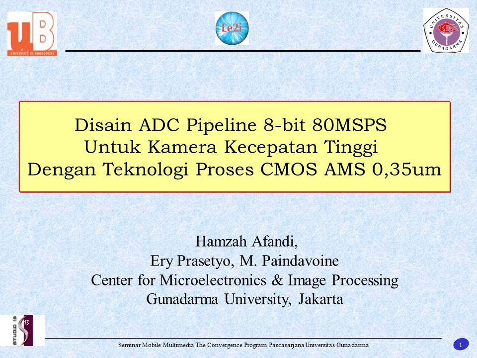 22 Seminar Mobile Multimedia The Convergence Program Pascasarjana Universitas Gunadarma Rancangan ADC Pipeline 8-bit 80 Msps Hasil simulasi Gain AoLGain Band withPhase MarginVosPower 50dB1,6 GHz95 o 10mV6,824mW