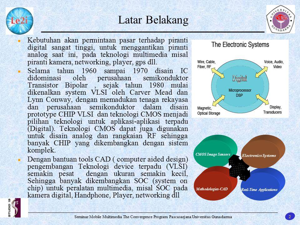 13 Seminar Mobile Multimedia The Convergence Program Pascasarjana Universitas Gunadarma Manfaat dan Kontribusi ADC pipeline dengan kecepatan konversi 80Msps dapat mendukung kamera kecepatan tinggi 10.000 frames/s, dapat juga di aplikasi pada peralatan pengolahan video misal pada multimedia DVD,VCD,CD dan flash player, pada kedokteran EEG, EKG, USG, Scanner dan lain- lainnya.