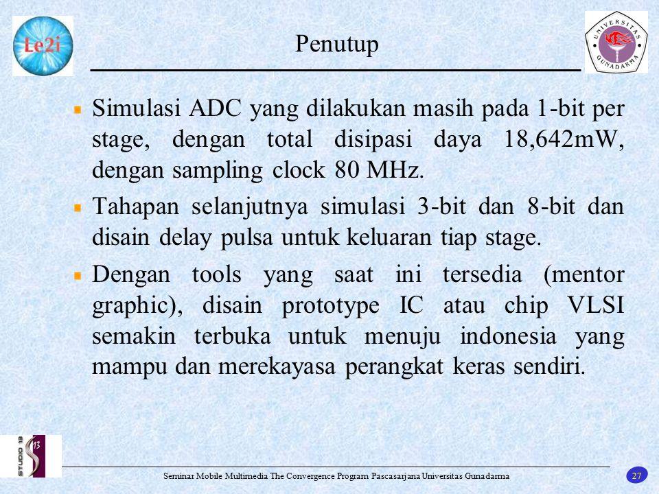 27 Seminar Mobile Multimedia The Convergence Program Pascasarjana Universitas Gunadarma Penutup Simulasi ADC yang dilakukan masih pada 1-bit per stage