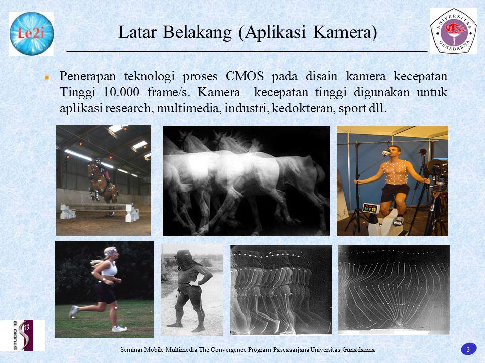 3 Seminar Mobile Multimedia The Convergence Program Pascasarjana Universitas Gunadarma Latar Belakang (Aplikasi Kamera) Penerapan teknologi proses CMO