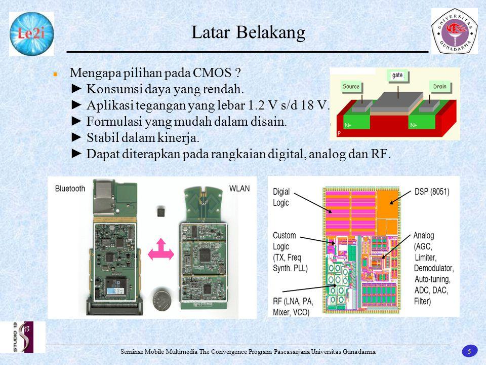 6 Seminar Mobile Multimedia The Convergence Program Pascasarjana Universitas Gunadarma Latar Belakang (Teknologi Proses CMOS)