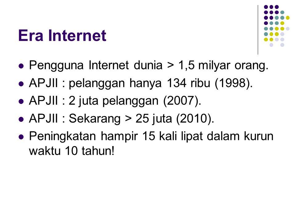 Era Internet Pengguna Internet dunia > 1,5 milyar orang.