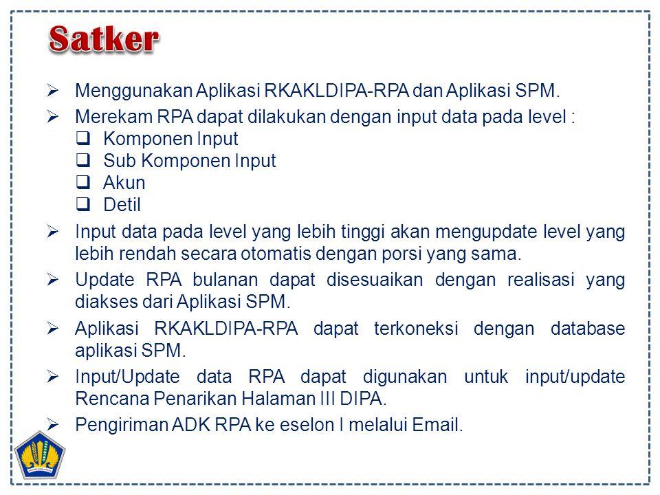  Menggunakan Aplikasi RKAKLDIPA-RPA dan Aplikasi SPM.  Merekam RPA dapat dilakukan dengan input data pada level :  Komponen Input  Sub Komponen In