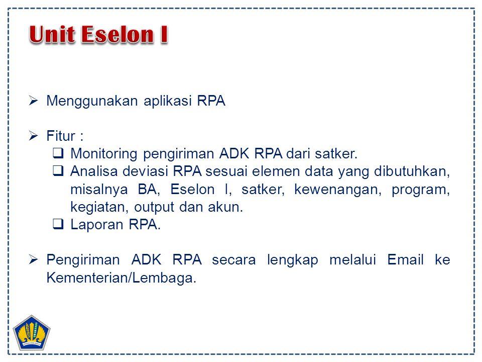  Menggunakan aplikasi RPA  Fitur :  Monitoring pengiriman ADK RPA dari satker.  Analisa deviasi RPA sesuai elemen data yang dibutuhkan, misalnya B