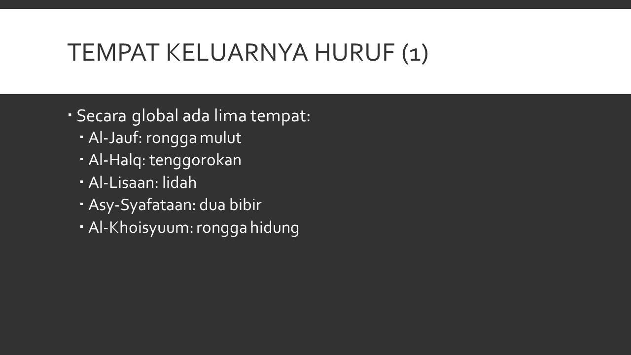 TEMPAT KELUARNYA HURUF (1)  Secara global ada lima tempat:  Al-Jauf: rongga mulut  Al-Halq: tenggorokan  Al-Lisaan: lidah  Asy-Syafataan: dua bib