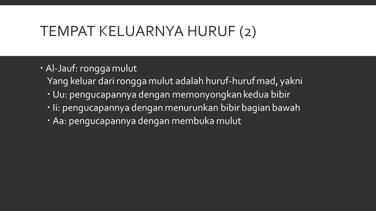 TEMPAT KELUARNYA HURUF (2)  Al-Jauf: rongga mulut Yang keluar dari rongga mulut adalah huruf-huruf mad, yakni  Uu: pengucapannya dengan memonyongkan