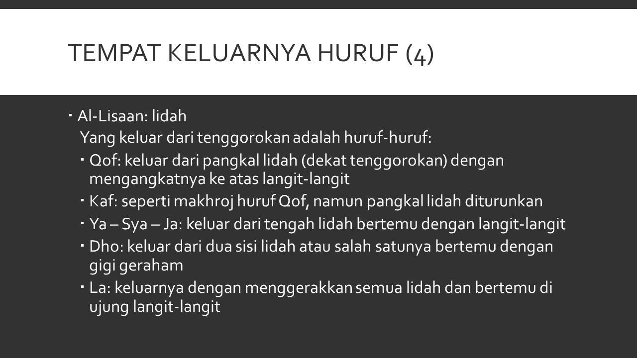 TEMPAT KELUARNYA HURUF (4)  Al-Lisaan: lidah Yang keluar dari tenggorokan adalah huruf-huruf:  Qof: keluar dari pangkal lidah (dekat tenggorokan) de