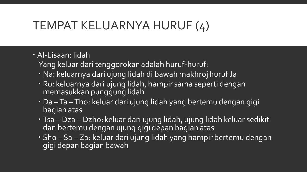 TEMPAT KELUARNYA HURUF (4)  Al-Lisaan: lidah Yang keluar dari tenggorokan adalah huruf-huruf:  Na: keluarnya dari ujung lidah di bawah makhroj huruf